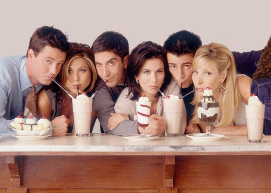 "Starting in 1994, Matthew Perry, Jennifer Aniston, David Schwimmer, Courteney Cox Arquette, Matt LeBlanc and Lisa Kudrow were ""Friends"" Chandler Bing, Rachel Green, Ross Geller, Monica Geller, Joey Tribbiani and Phoebe Buffay."