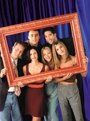 """Friends,"" with Matthew Perry as Chandler, Courteney Cox Arquette as Monica, Matt LeBlanc as Joey, Lisa Kudrow as Phoebe, David Schwimmer as Ross and Jennifer Aniston as Rachel, turns 25 this week."