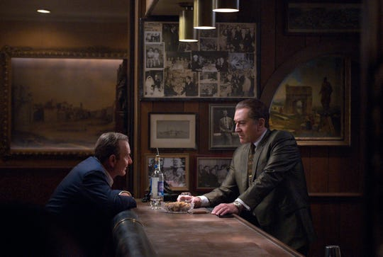 """Joe Pesci, left, and Robert De Niro in a scene from Netflix's """"The Irishman,"""" which premiered at the New York Film Festival Friday."""