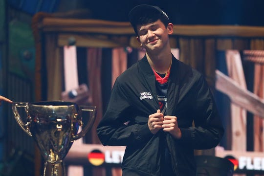 Kyle Bugha Giersdorf celebrates after winning the Fortnite World Cup solo final at Arthur Ashe Stadium on July 28, 2019 in New York City.