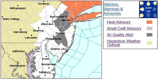 Parts of New Jersey were were under a heat advisory or an air quality alert on July 30, 2019.