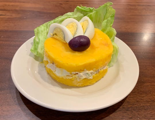 Causa rellena at Sabor Peruano.