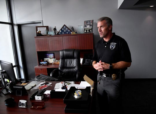 Abilene Police Chief Stan Standridge in his office at the new Law Enforcement Center July 26. Standridge said he appreciated the expanded room which features a small conference table for confidential meetings