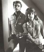 "John Schneider with co-star Lee Purcell in ""Eddie Macon's Run,"" a 1983 movie that was filmed in Texas."