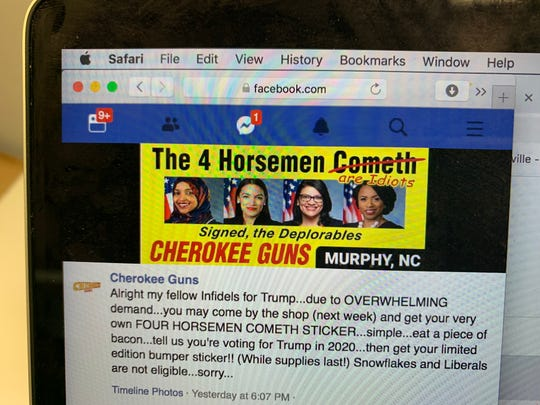 This image on the Facebook page of Murphy gun retailer Cherokee Guns is the same as one on a billboard on U.S. 64 in the Cherokee County town.