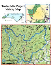 This map shows the vicinity of the U.S. Forest Service Twelve Mile project, which borders the Great Smokies and I-40 in the Pigeon River Gorge of Haywood County.