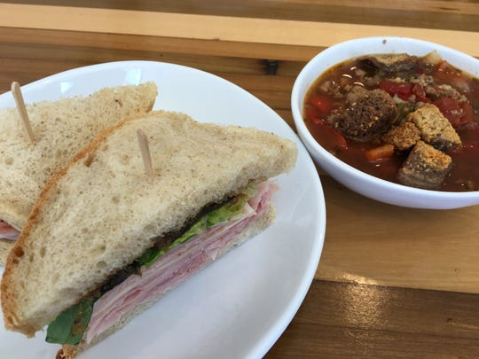 The Foundry Bakehouse and Deli in Albion features a factory-themed menu and freshly-made items such as the Strake Sandwich and stuffed green pepper soup.