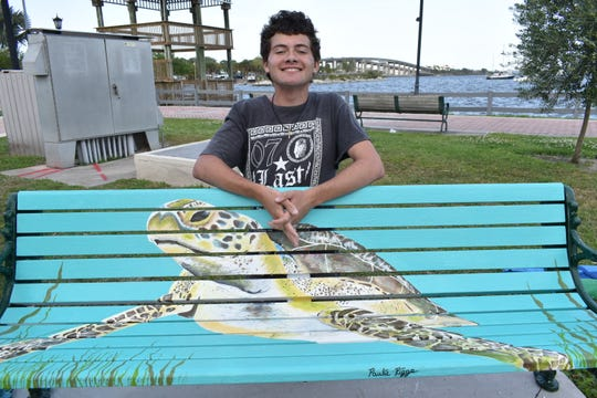 """Paulie Riggs has two benches in Cocoa Village, one of which is his """"protect the sea turtles"""" inspired bench which he completed in 2017."""
