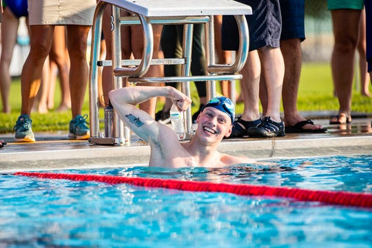 Miles Cochrane (EDGE) poses after his 200-yard individual medley at the Champlain Valley Swim League Championships at Middlebury Municipal Pool in Middlebury on Friday.