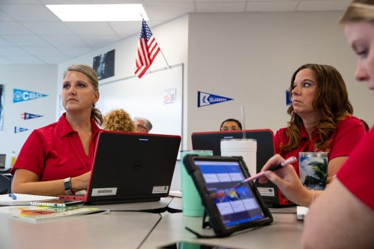 CCISD teachers attend a class during the Tech2Teach conference at Veterans Memorial High School, Tuesday, July 30, 2019.