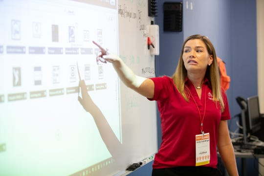 Emily Schellinger leads a group of teachers in a hands-on session during the Tech2Teach conference at Veterans Memorial High School, Tuesday, July 30, 2019.
