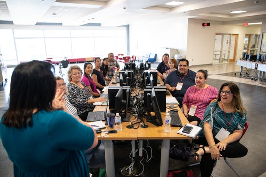CCISD teachers attend a hands on session  during the Tech3Teach conference at Veterans Memorial High School, Tuesday, July 30, 2019.