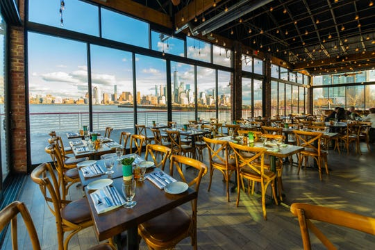 The stunning view from the patio at Battello in Jersey City.