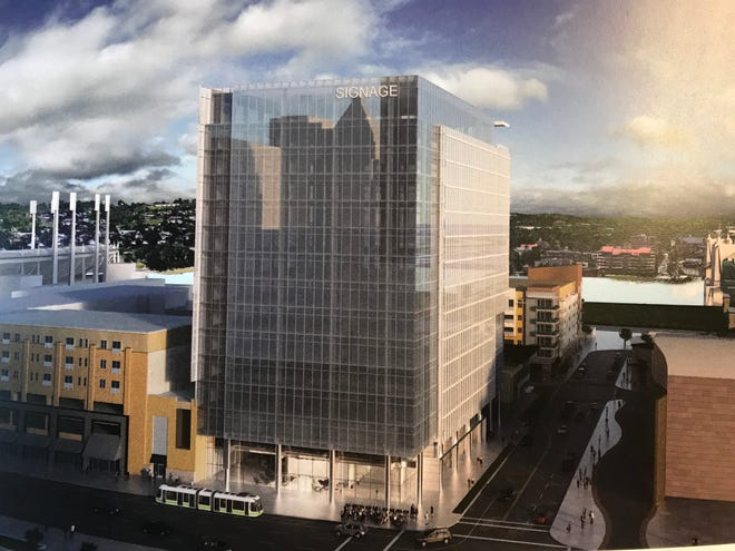 A rendering of the new office building planned for The Banks