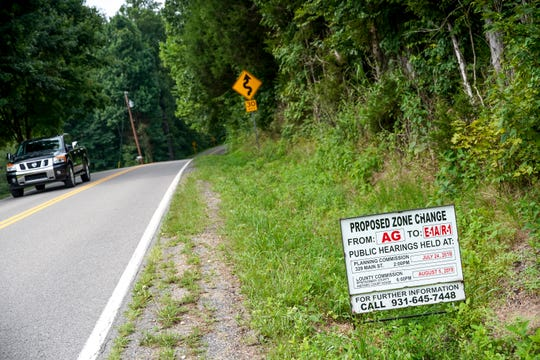 Views of the land that will be voted on whether it will be changed from agricultural zoning to one for housing developments can be seen on the East along Hickory Point Road in Clarksville, Tenn., on Monday, July 29, 2019.