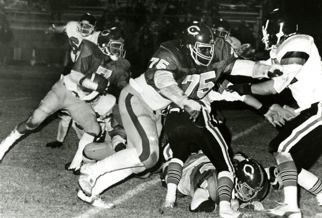 Harry Galbreath, No. 75, playing for Clarksville High School in the early 1980s. Galbreath went on to play for the University of Tennessee, then the Miami Dolphins, Green Bay Packers and New York Jets.