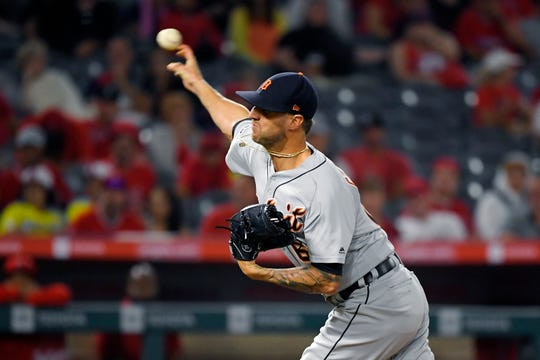 Shane Greene throws to the plate during the ninth inning of the Tigers' 7-2 win over the Angels on July 29.