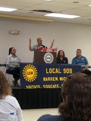 General Motors UAW worker Regina Duley, 53, works at GM's Warren Transmission Plant. She pleads to be heard by politicians and GM as the carmaker prepares to idle its Warren facility this Friday.