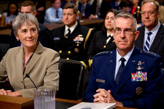 Former Secretary of the Air Force Heather Wilson, left, and Gen. John Hyten appear before a Senate Armed Services Committee on Capitol Hill in Washington, Tuesday, July 30, 2019, for Hyten's confirmation hearing to be Vice Chairman of the Joint Chiefs of Staff.