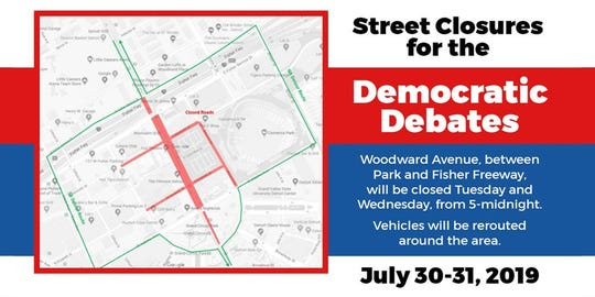 A map of street closures during the Democratic debates on July 30, 31 in downtown Detroit