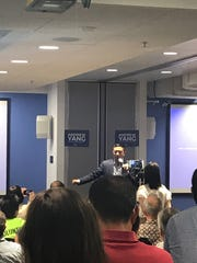 "Andrew Yang stopped by TechTown Tuesday to talk to Detroit's small business owners about the ""grid lock in D.C."""