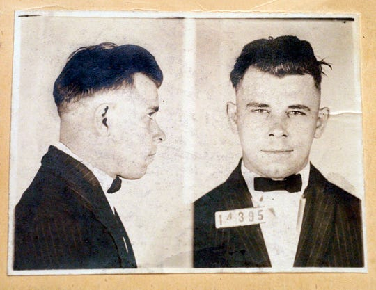Indiana Reformatory booking shots of John Dillinger, stored in the state archives, and shows the notorious gangster as a 21-year-old. Records show that Dillinger was admitted into the reformatory on Sept. 16, 1924.