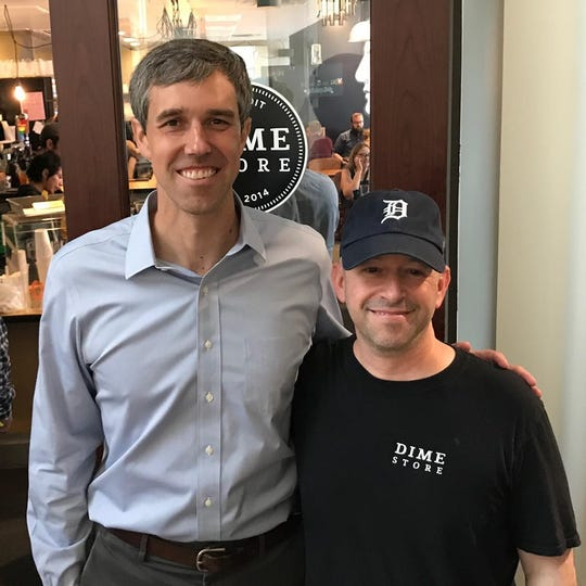 Beto O'Rourke had breakfast at the Dime Store in Detroit Tuesday.
