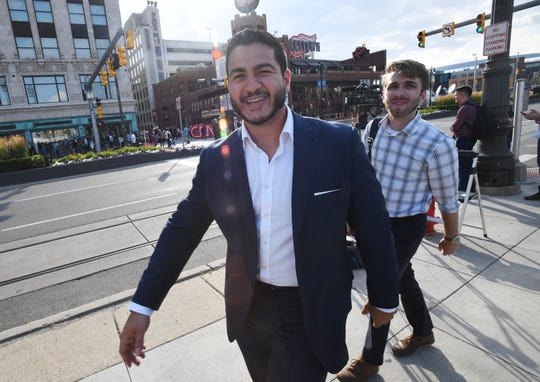 Dr. Abdul El-Sayed, a Michigan Democratic gubernatorial candidate in 2018, makes his way down Woodward, which is closed for the Democratic presidential debates.