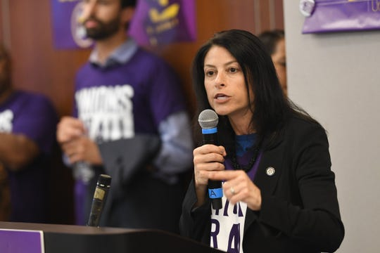 Attorney General Dana Nessel addresses nursing home workers to demand accountability and push for policies to address wages and staffing ensured to provide higher levels of care for nursing home residents.