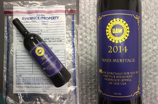 During a 2015 UAW party paid for with Fiat Chrysler cash, attendees received a wine bottle honoring union Vice President Norwood Jewell.