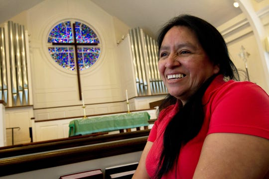 Maria Chavalan-Sut, an immigrant from Guatemala, speaks during an interview at Wesley Memorial United Methodist Church in Charlottesville, Va., on Wednesday, July 17, 2019.