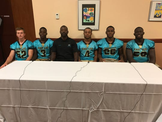 East Lee County was represented at Lee County Football Media Day Tuesday by  Gabriel Johnson, Johnny Brown III, head coach Johnny Brown, Jr., Thailand Brown, Tony Marcelon and Jodivson Aristhyl