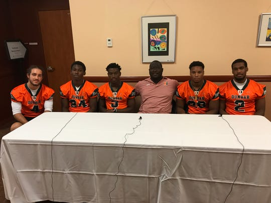 Dunbar was represented at Lee County Football Media Day Tuesday by Kelby Dressel, Albert Nunez, Jarvis Jones, head coach Sammy Brown, Knowledge Bland and Brandon Benjamin