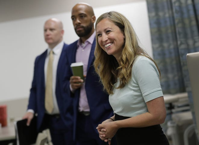 Rep. Amanda Stuck, D-Appleton, tours the medical assistant training program areas at Fox Valley Technical College with DWD Secretary-Designee Caleb Frostman, far left, and Lt. Gov. Mandela Barnes Tuesday, July 30, 2019, in Appleton, Wis.