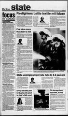 A Greenville News report details the destruction of the Piedmont Mill in October 1983.