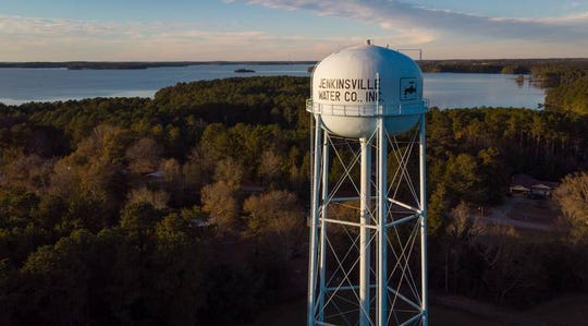 One of the Jenkinsville Water Company towers overlooks Lake Monticello.