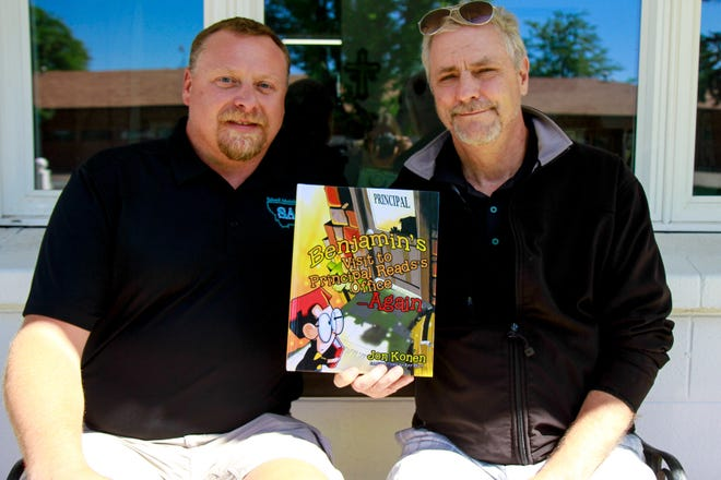 """Author Jon Konen and illustrator Ray Kelly with """"Benjamin's Visit to Principal Reads's Office—Again."""""""