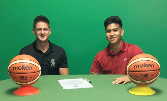 UOG men's basketball coach Brent Tipton and Brandon Soriano, who recently signed to play for the Tritons.