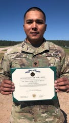 Members of the Guam Army National Guard received special recognition and awards from the South Dakota National Guard on July 25 for outstanding support during the National Guard Officer Candidate School program held at Ft. Meade, SD. Their exceptional contribution and performance as support staff played a big role in providing education and training for future lieutenants from across the country. Pictured: SPC Jonathan Lujan.  Not pictured: SPC Natasha Cruz - Army Commendation Medal for her outstanding performance, SPC Lorindalynn Chugrad -Army Achievement Medal and SPC Kristian Brayshaw - South Dakota Distinguished Service Award from the Governor of South Dakota.