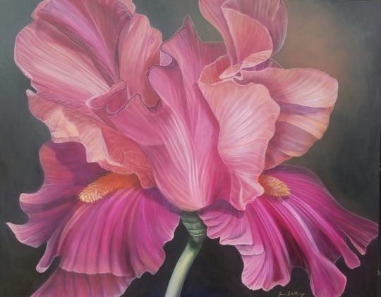 This is an example of the beautiful, large floral canvases by Joanne Scott Massey that will be on display at the Audubon Museum starting Saturday.