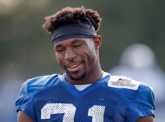 Indianapolis Colts running back Nyheim Hines (21) during day 5 of the Colts preseason training camp practice at Grand Park in Westfield on Tuesday, July 30, 2019.
