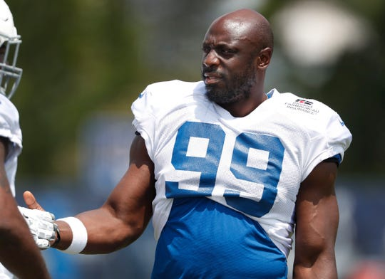 Indianapolis Colts defensive end Justin Houston (99) during day 4 of the Colts preseason training camp practice at Grand Park in Westfield on Sunday, July 28, 2019.