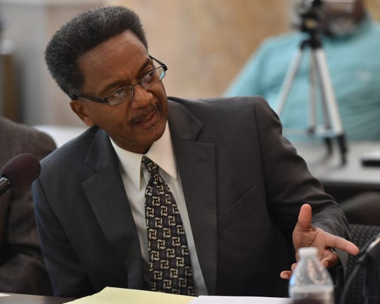 Dr. Sam Mozee of the Mississippi Urban Research Center at Jackson State University   speaks during a meeting of the Mississippi Legislative Black Caucus' Economic Development, Housing, and Agriculture Committee on Tuesday to discuss alternative financing and the use of additional criteria for mortgage lending to minorities and marginal borrowers. Tuesday, July 30, 2019.