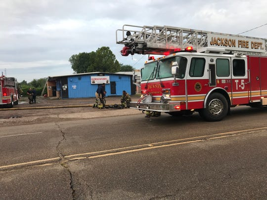The Jackson Fire Department responds to a blaze at Gloria's Kitchen in Jackson on Tuesday, July 30, 2019.