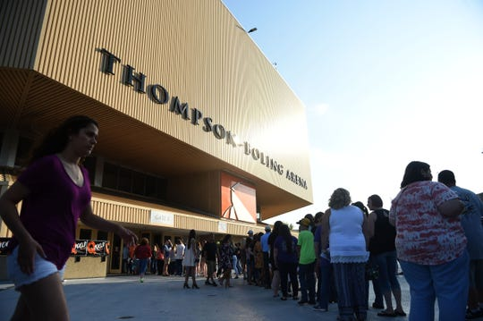 Fans walk into Thompson-Boling Arena for a Florida Georgia Line concert on Saturday, April 29, 2017. Opening acts included East Tennessee native Morgan Wallen, Chris Lane, and Dustin Lynch.
