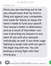 Text message purportedly from financier Michael Lewitt