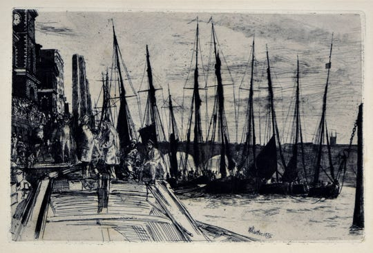 """James Abbott McNeill Whistler's etchings include this 1859 work called """"Billingsgate."""" It's part of the collection of the Reading Public Museum in Reading, Pa."""
