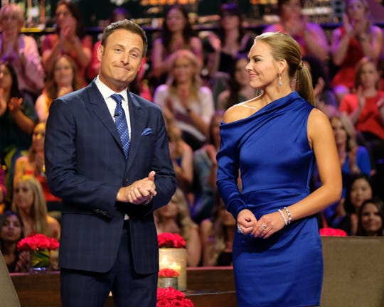 """Chris Harrison and Hannah Brown on """"The Bachelorette"""" finale."""