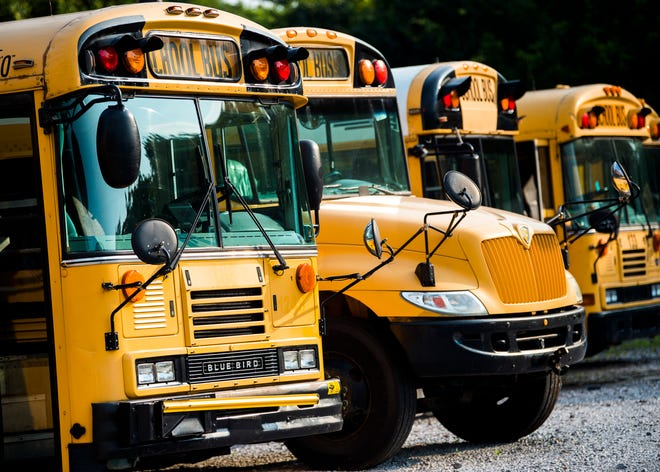 School buses at Lynch Bus Lines in Knoxville on Tuesday, July 30, 2019.