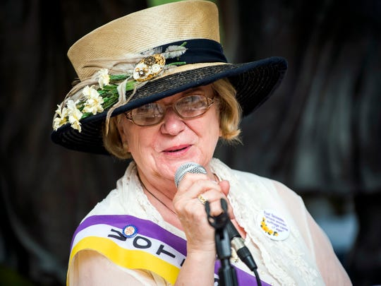 Wanda Sobieski, a suffrage historian, talks about suffrage in Tennessee during a grant announcement event in front of the suffrage memorial in downtown Knoxville's Market Square on July 30, 2019.